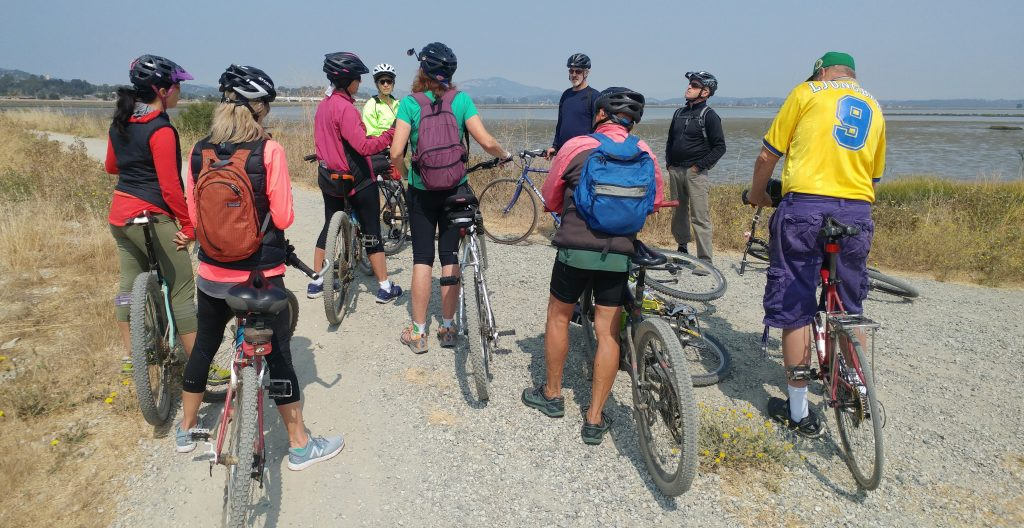Bike The Watershed 8 bicycle riders at Hamilton wetlands