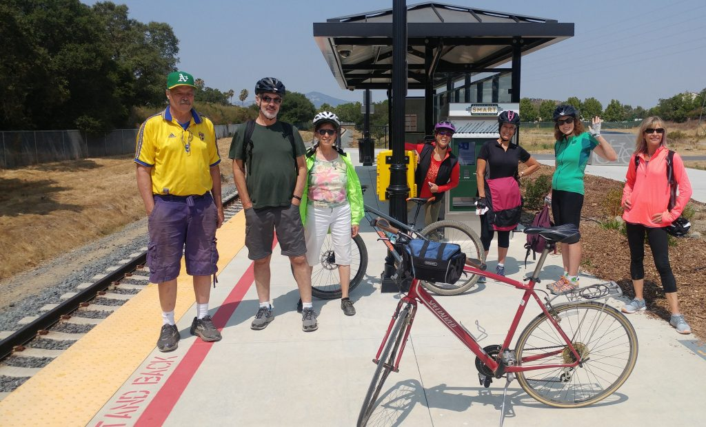 Bike The Watershed 8 bicycle riders at Hamilton SMART train station